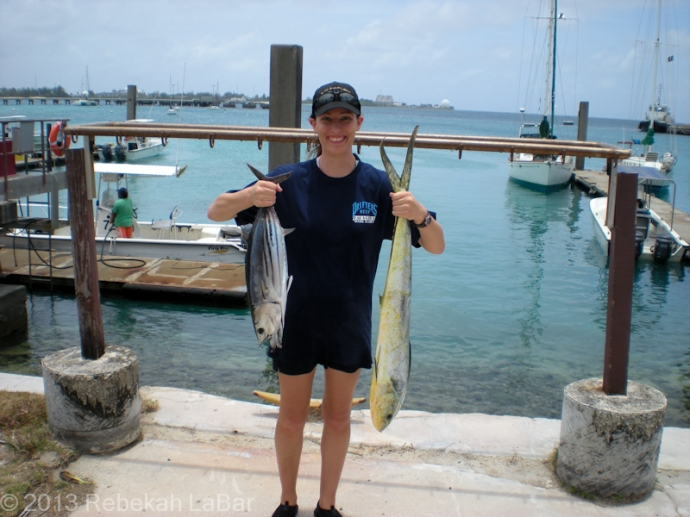 "Hanging onto a couple of heavy fish (especially the mahi, on the right), thinking ""don't drop, don't drop, don't drop them!"""