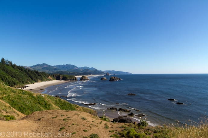 Cannon Beach with Haystack Rock and the Needles, from Ecola State Park