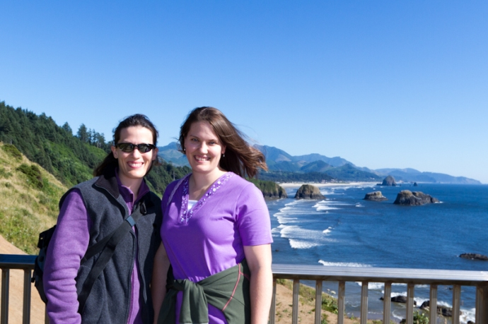 Me and my sister, at Ecola State Park, with Cannon Beach below us