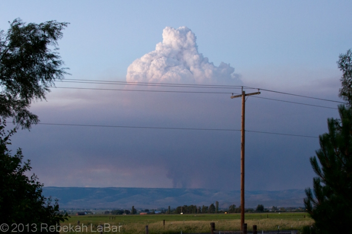 Pyrocumulus cloud growing above a smoke column northeast of Ellensburg, Washington