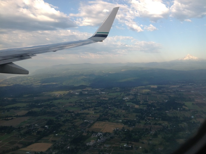 Approaching PDX (Columbia River on the left, Mount Hood on the right)
