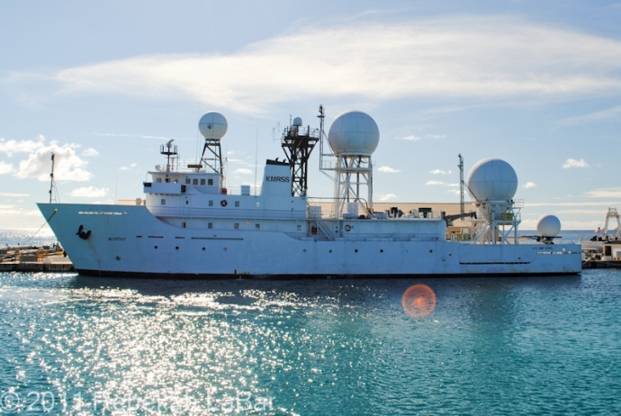 The US Army's USS Worthy, at home in Kwajalein Harbor. The Worthy can travel long distances to set up for mission activities, where they track and observe various mission activities.