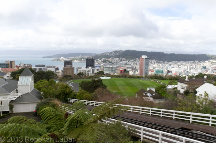 Upper terminus of the historic Wellington Cable Car, looking down towards the harbour