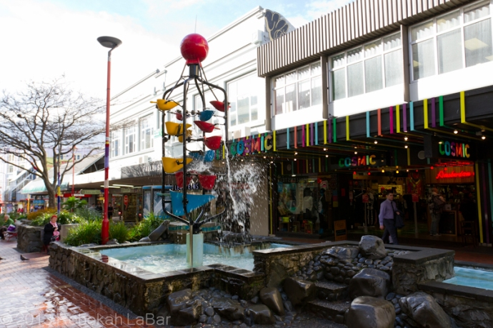 A cool bucket fountain on Cuba Street; the buckets fill with water and somewhat randomly tip over.