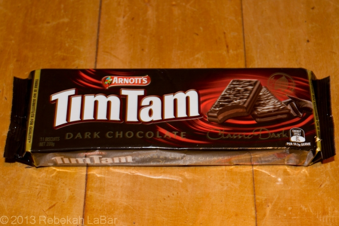 I've heard Aussies and Kiwis mention TimTams, but I wasn't quite sure what they were until today. I had to try some, and I found them quite a delicious dark chocolate cookie, or biscuit as they're called.